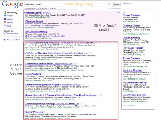 Google SERP Befor Places change