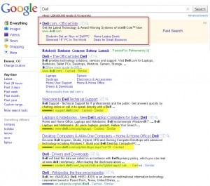 Dell SERP - Search engine advertising