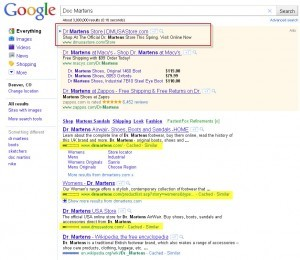DrMartens SERP - Search Engine Advertising